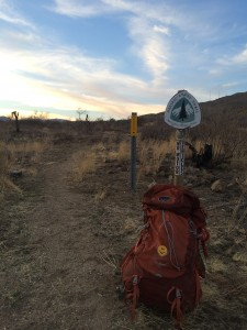 backpack on the PCT